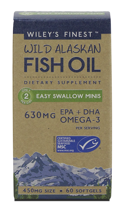 WILEY'S FINEST Wild Alaskan Fish Oil - Easy to Swallow Minis 60 sgels